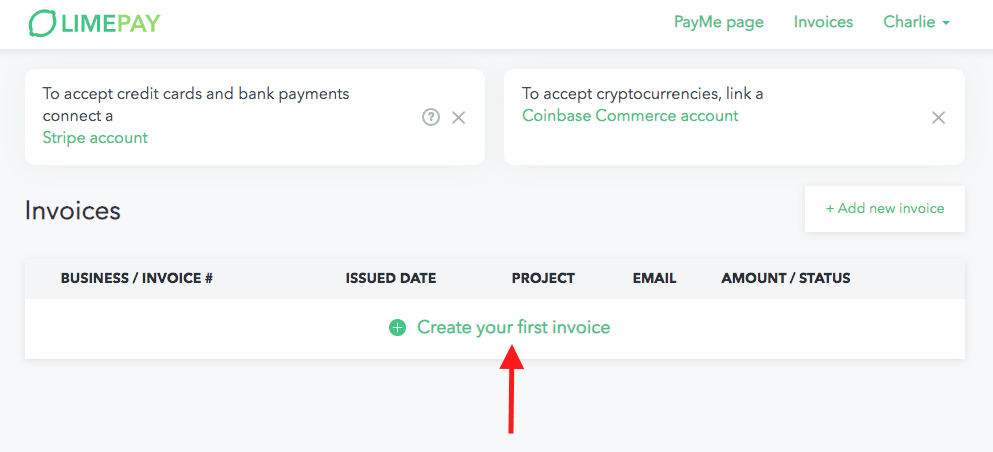 create your first invoice - Limepay