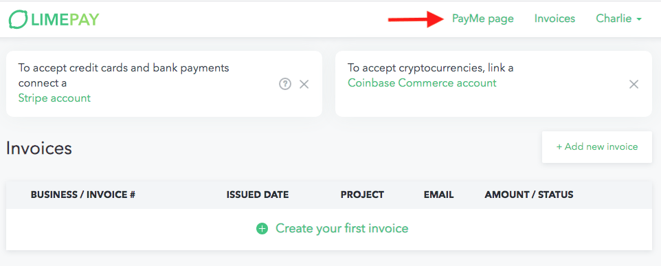 limepay payme page creation