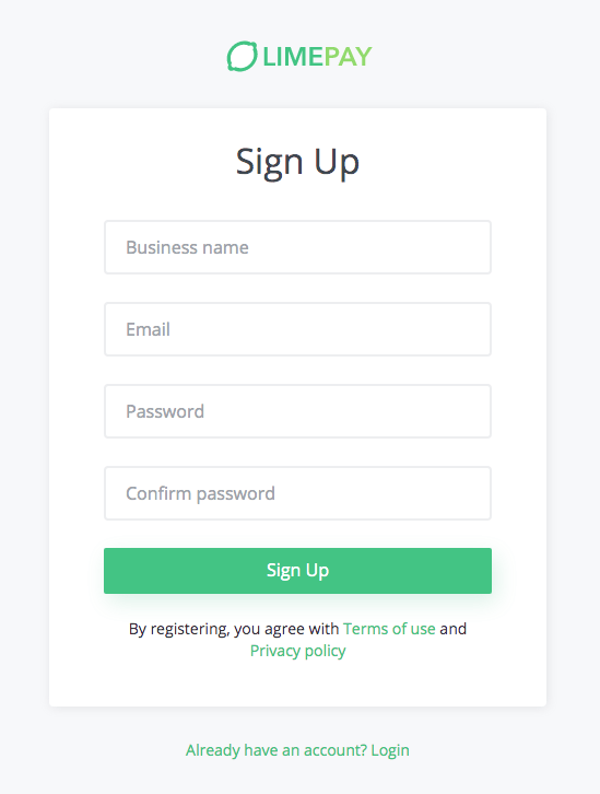 limepay signup page
