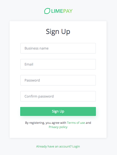limepay sign-up form